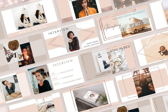 Rose Gold Social Media Bundle Canva in Instagram Templates - product preview 5