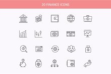 Set of thin lines financial icons