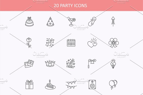 Outline web icons set - Party
