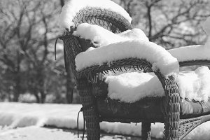 Snow Covered Patio Furniture