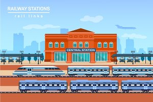 Railway station, vector flat