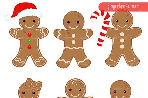 Gingerbread men Clipart and Vectors