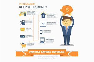 Monthly expenses template. Vector