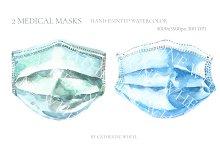 Watercolor Medical Mask Illustration