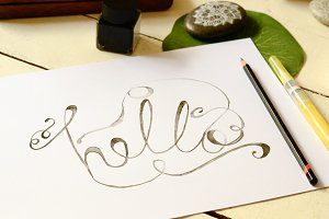 "The word ""hello"" in calligraphy"