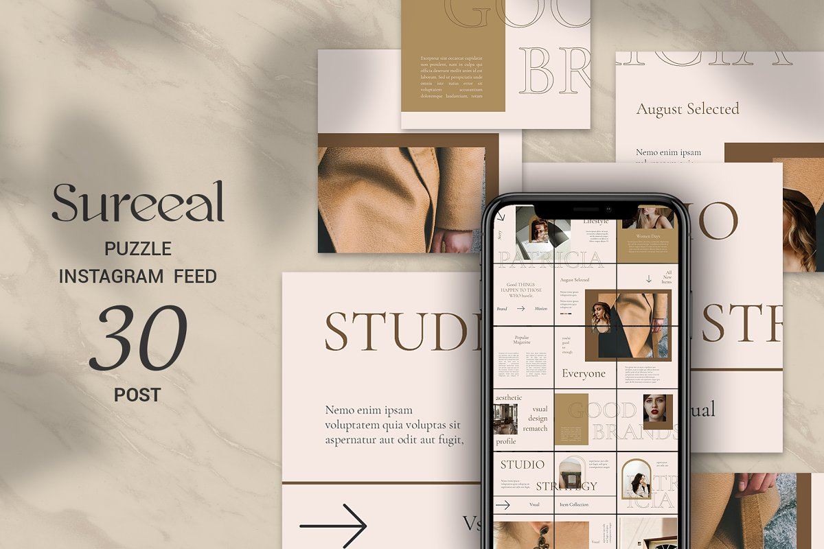 Sureeal Puzzle Instagram Feed in Instagram Templates - product preview 8
