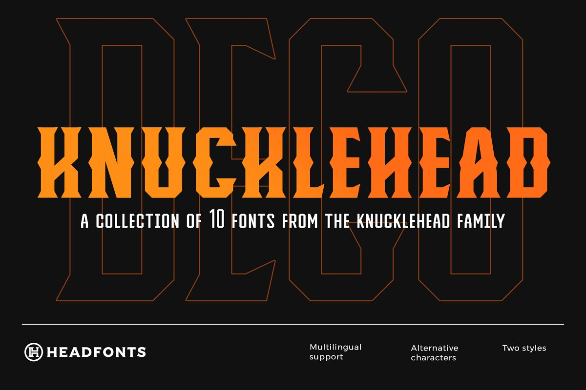 Knucklehead Deco | Vintage Font in Serif Fonts - product preview 8