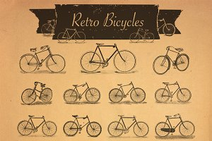 37 Retro Bicycles Raster and Vector