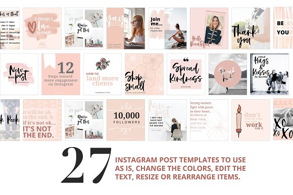 Canva Template Bundle Blush Tones in Instagram Templates - product preview 3