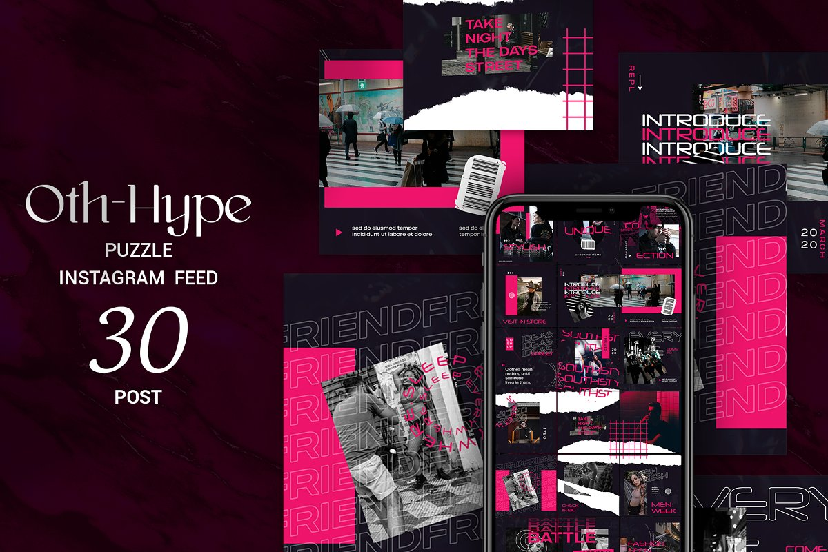 Oth-Hype Puzzle Instagram Feed in Instagram Templates - product preview 8