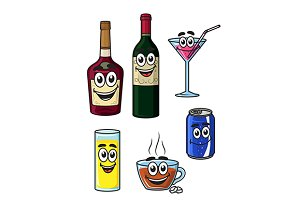 Happy cartoon beverage characters