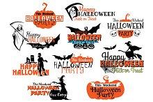 Set of Happy Halloween eerie designs