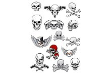 Vector skull characters with crossbo