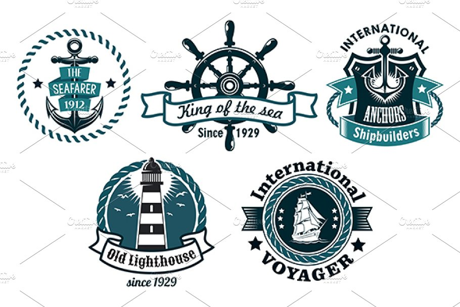 Nautical themed emblems or badges