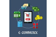 E-commerce flat concept showing paym