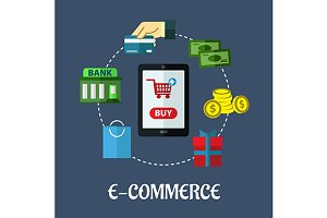 E-commerce flat concept showing paym