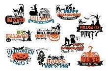 Set of Happy Halloween vector banner
