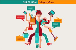 Super Mom - multitasking woman