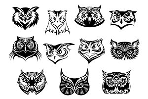 Large set of black and white owl hea