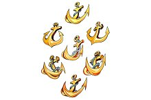 Swirling gold ships anchors