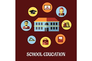 School education flat design