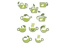 Green herbal tea icons