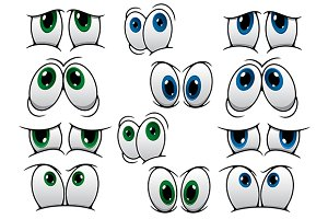 Blue and green cartoon eyes