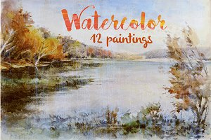 Watercolor landscapes and other work