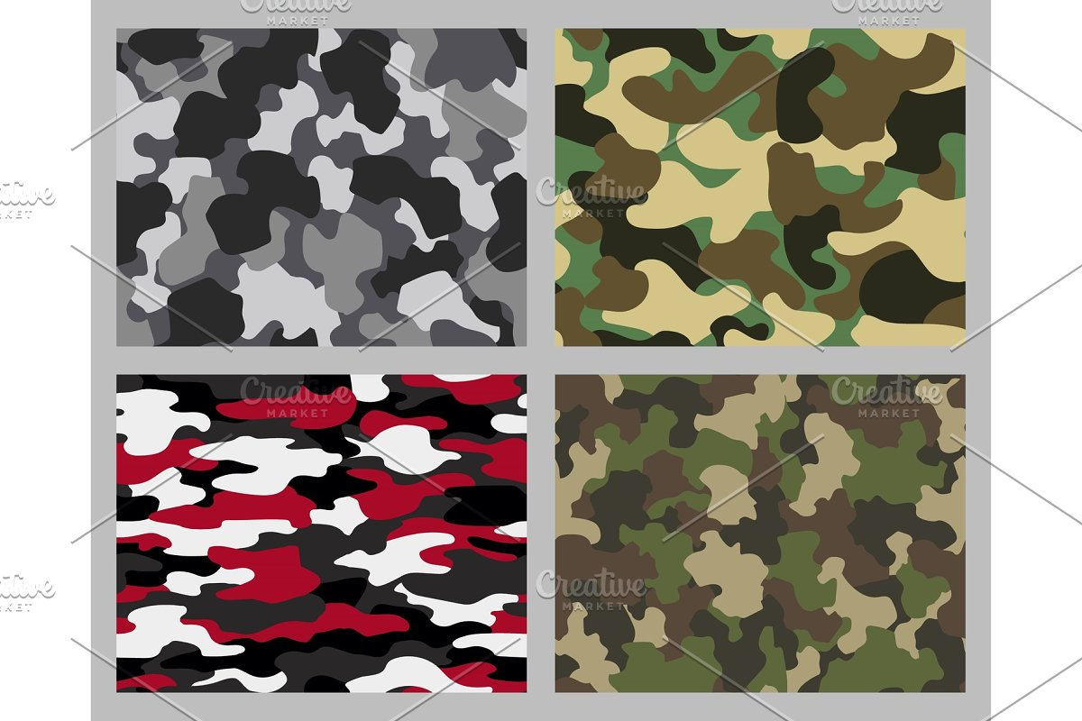 Set of camouflage seamless