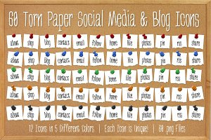 60 Torn Paper Push Pin Icons - Bold