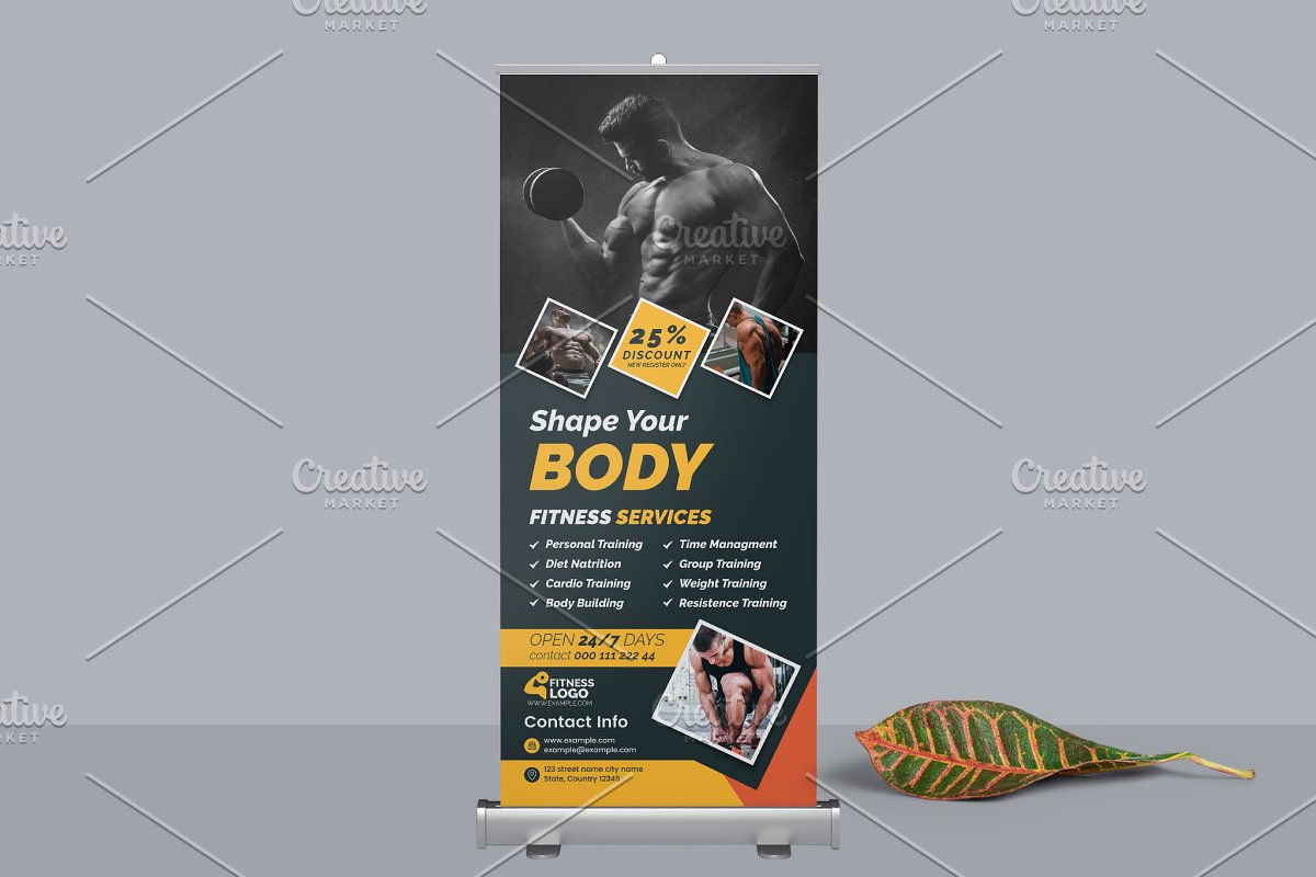 Fitness Shape Roll-up Banner