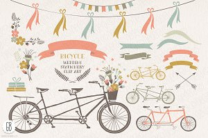 Tandem bicycle flowers wedding card