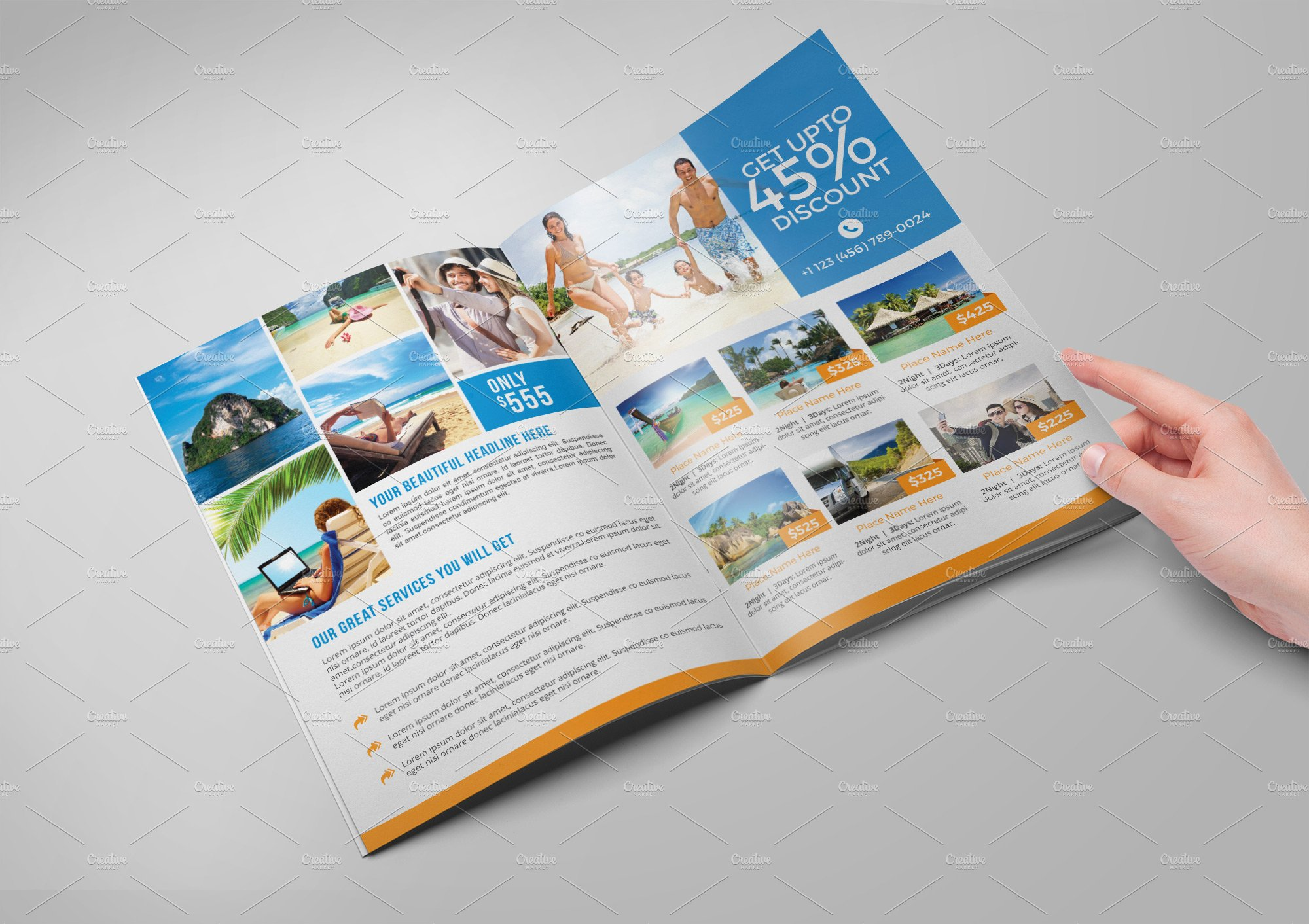 Travel agency bi fold brochure brochure templates for Brochure folding templates
