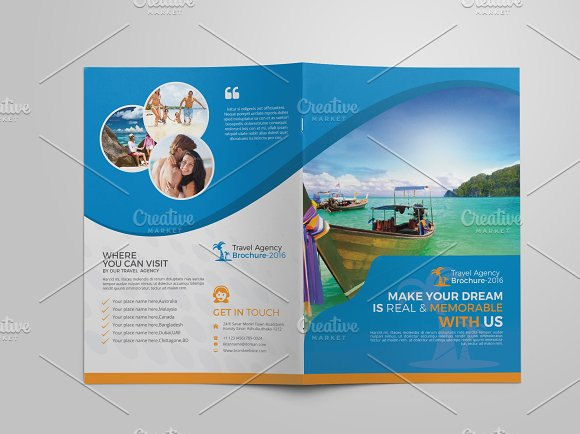 travel agency bi fold brochure brochure templates creative market