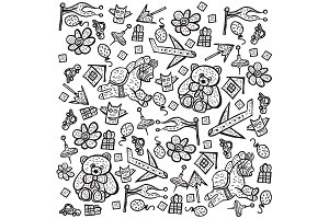 Child pattern with cute toy elements