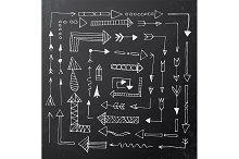 Hand drawn arrow icons on black