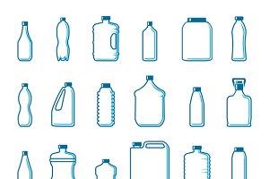 Plastic bottles in outline style