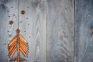 Christmas tree made of cinnamon stic