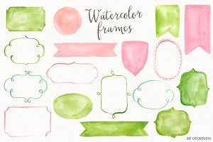 Watercolor Frames & Ribbons