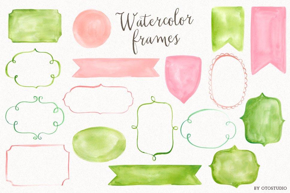 Watercolor Frames & Ribbons ~ Illustrations ~ Creative Market