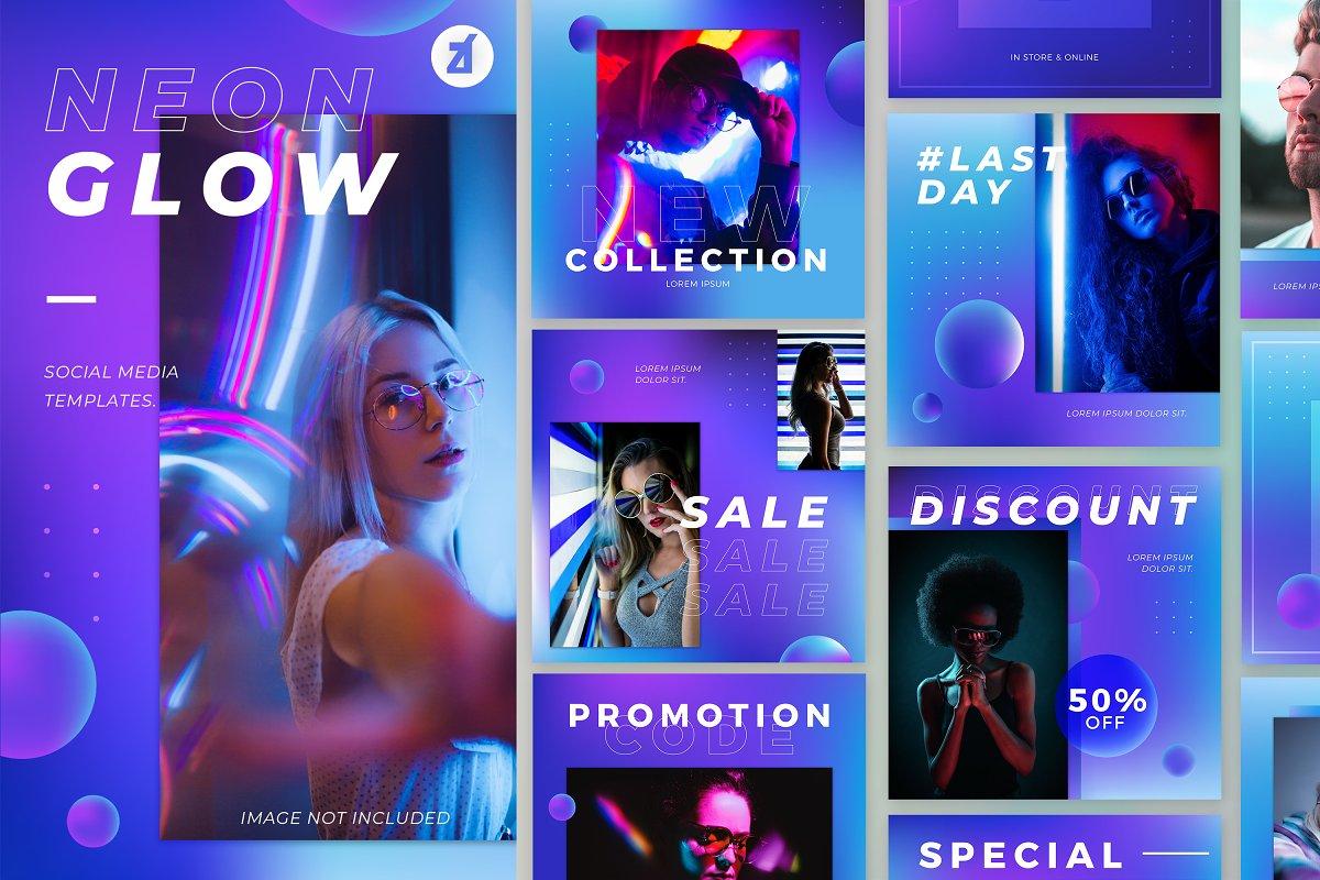 Neon glow social media graphic
