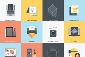 Technology and development icon set