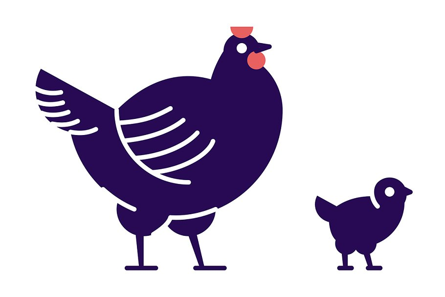 Chicken with chick illustration