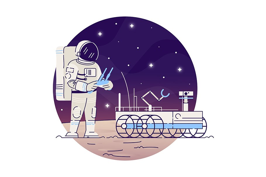 Astronaut with moon rover flat icon