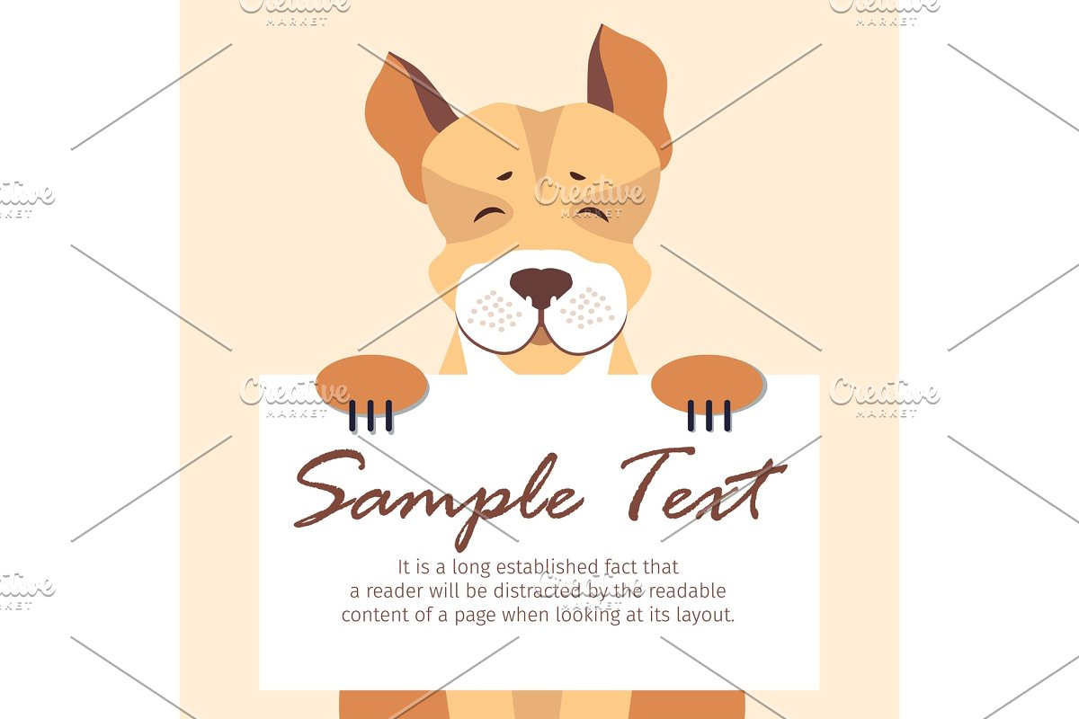 Cute Dog Holding Banner with Sample