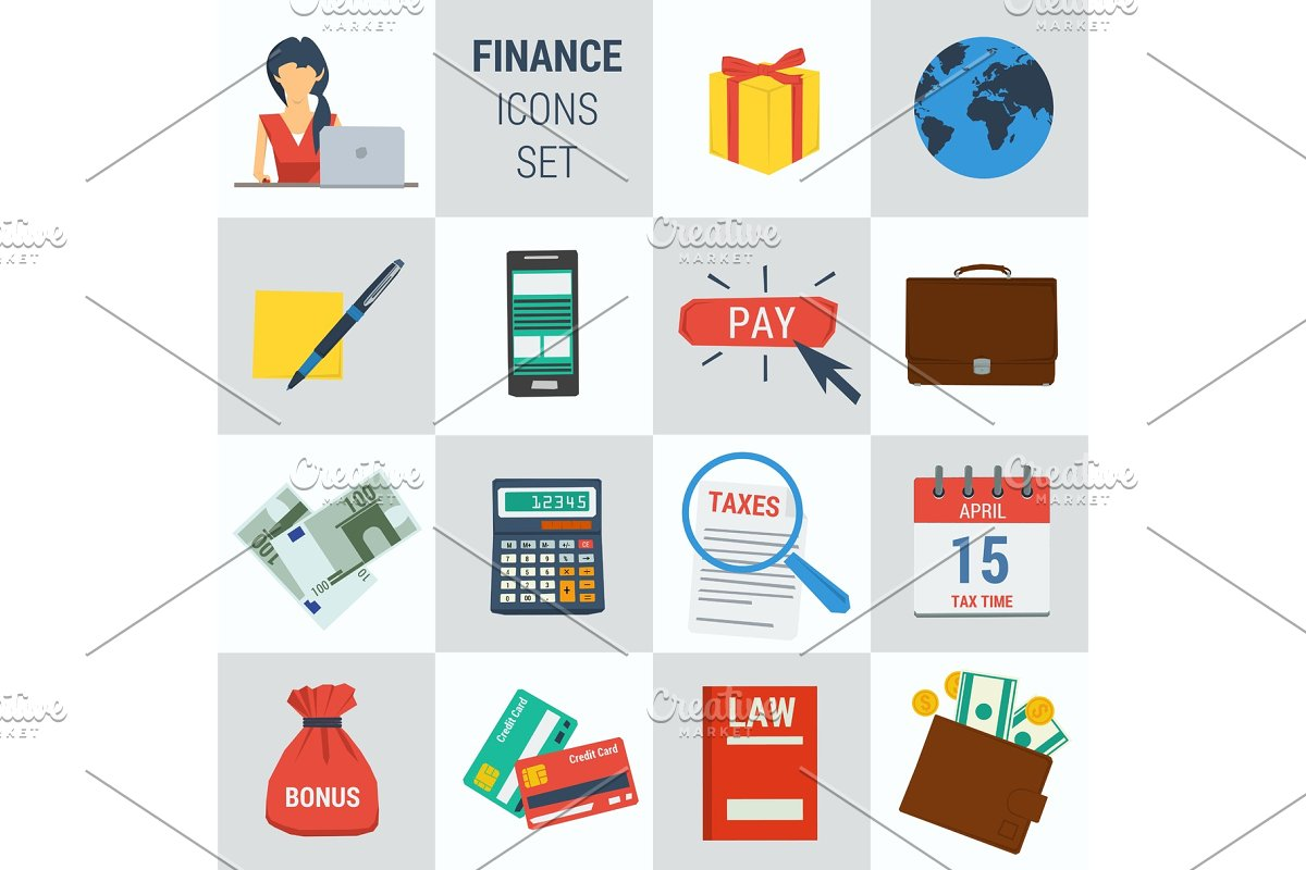 Accounting finance square 15 icons
