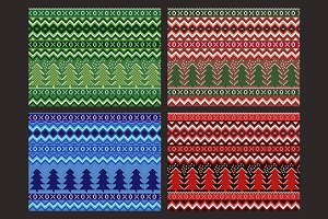 Pixel seamless winter patterns