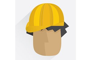 Worker head in yellow helmet