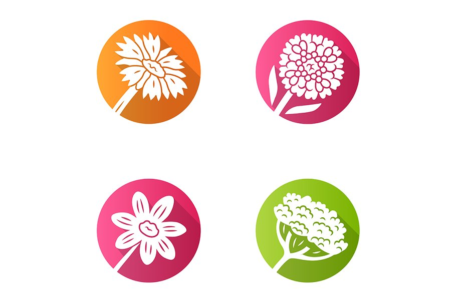 Wild flowers flat design glyph icons