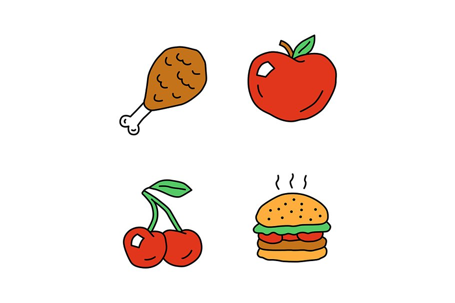 Healthy and harmful nutrition icons